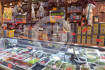 La Boqueria market in Barcelona - Spain Editorial Stock Photo
