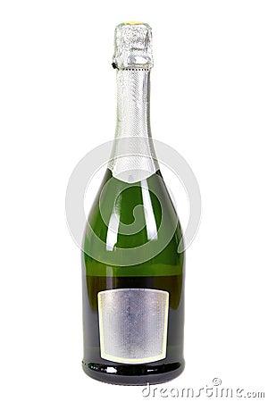 La bottiglia di champagne ha isolato