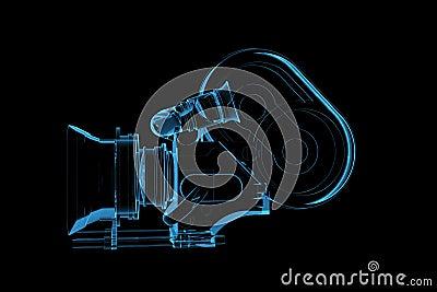 La caméra vidéo professionnelle 3D a rendu le rayon X bleu