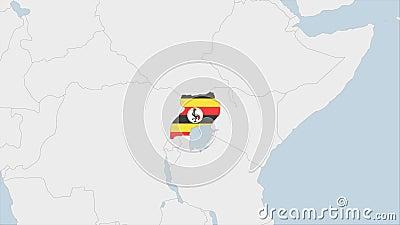 La carte de l'Ouganda mise en évidence dans les couleurs du drapeau ougandais et l'épingle de Kampala, la capitale du pays illustration de vecteur