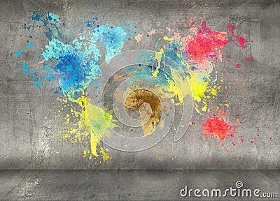 La carte du monde faite de peinture clabousse sur le mur en b ton illustrati - Peinture sur mur beton ...