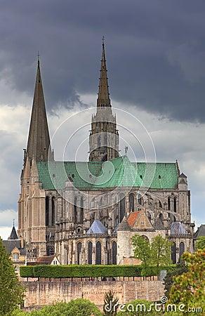 La catedral de nuestra señora de Chartres, Francia