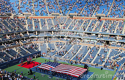 La cerimonia di apertura della partita finale degli uomini di US Open a Billie Jean King National Tennis Center Fotografia Editoriale