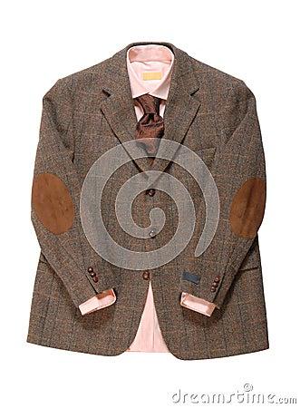 La chaqueta, camisa, corbata está en el fondo blanco.
