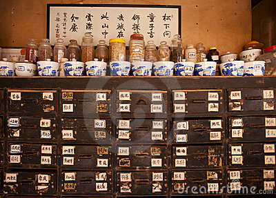La Chine : medicin de chinois traditionnel Photo éditorial