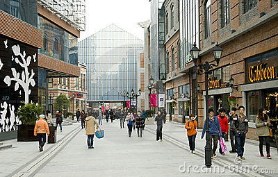 La Chine : rue piétonnière Image stock éditorial