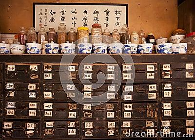 La Cina: medicin del cinese tradizionale Fotografia Editoriale