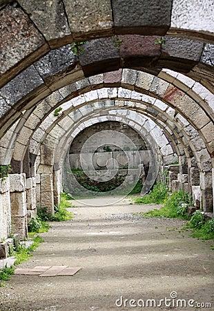 La ciudad antigua del ágora de Smyrna.