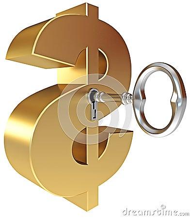 La clé ouvre un signe du dollar