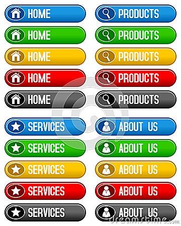 Botones caseros de los servicios de los productos