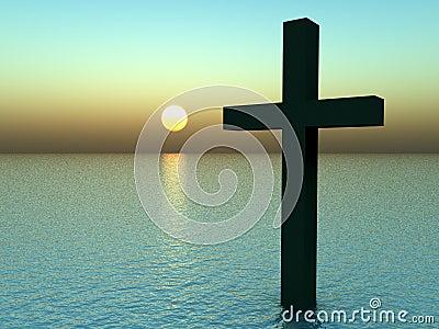 La cruz en agua en la salida del sol 21