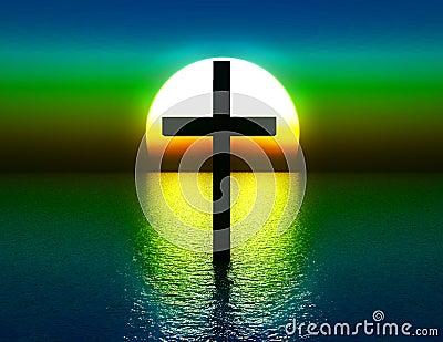 La cruz en agua en la salida del sol 4