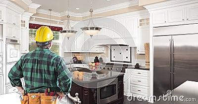 La cuisine dessine un tube de brosse qui se déplace vers le bas et vers la gauche vers la photo avec un entrepreneur regardant banque de vidéos