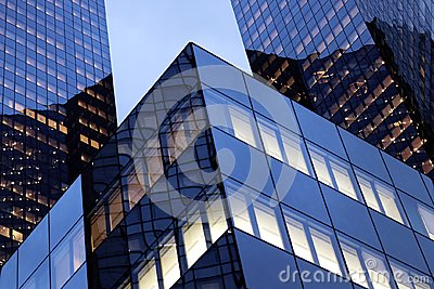 La defense offices glass facades at night in Paris business district Stock Photo
