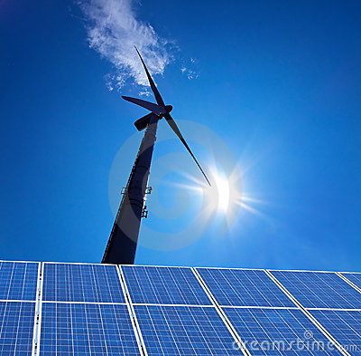 La energía alternativa de la energía eólica atraviesa