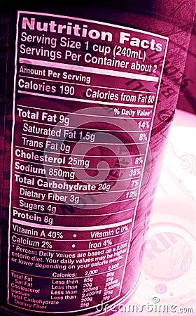 La escritura de la etiqueta alimenticia encendido puede