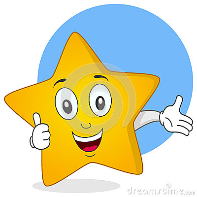 La estrella amarilla manosea con los dedos encima de carácter