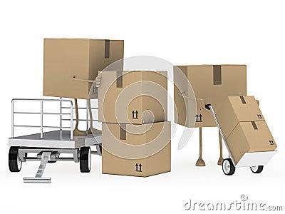 La figura de los conjuntos descarga la carretilla