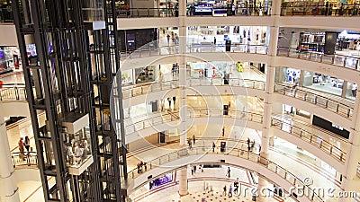 La gente de la alameda de compras trafica y lapso de tiempo del movimiento del elevador almacen de metraje de vídeo