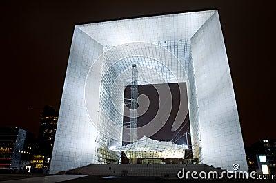 La Grand Arche at Night Editorial Photography