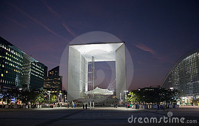 La Grande Arche in La Defense in Paris at sunset Editorial Stock Image