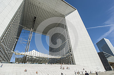 La Grande Arche Vapour trails Editorial Stock Photo