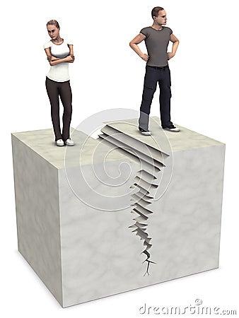 La grieta partida del divorcio de los pares de la mujer 3D del hombre se rompe para arriba