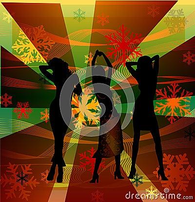 La hembra siluetea el baile en un disco