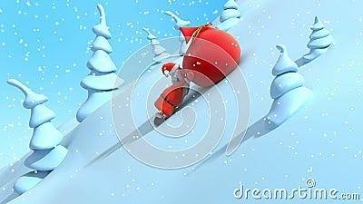 La historieta Santa Claus está levantando cuesta arriba y bolso rojo grande de las fricciones con los regalos libre illustration