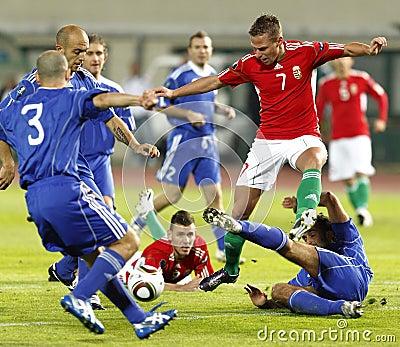 La Hongrie contre le Saint-Marin 8-0 Photo éditorial