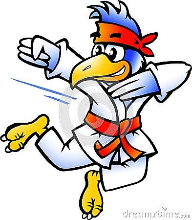 La ilustración de un pájaro practica autodefensa