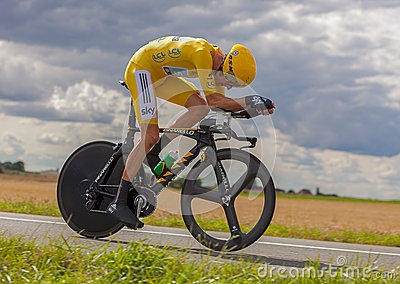 La Jersey gialla Bradley Wiggins Fotografia Editoriale