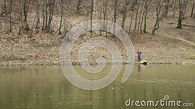 La jeune femme attirante avec le chapeau rouge erre dans la forêt par le lac congelé clips vidéos