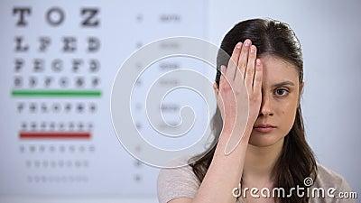 La jeune femme qui ferme l'oeil à la main, le contrôle de la vue, le mauvais problème de vision banque de vidéos