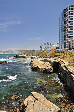 La Jolla building and shoreline