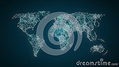 La línea de conexión de los puntos, puntos hace el mapa del mundo global, Internet de cosas 2