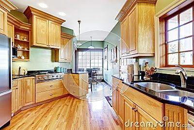 la lumi re modifie la tonalit des buffets avec le plan de travail noir photo stock image. Black Bedroom Furniture Sets. Home Design Ideas