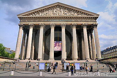 La Madeleine, church in Paris, France. Editorial Stock Photo