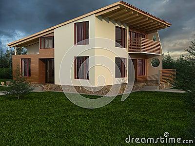 La maison avec le toit en pente photo stock image 21131770 for Terras modern huis