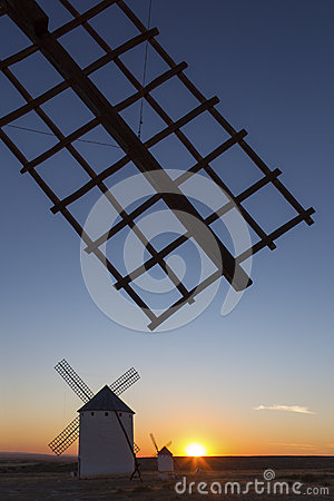 La Mancha Windmills at Sunset - Spain