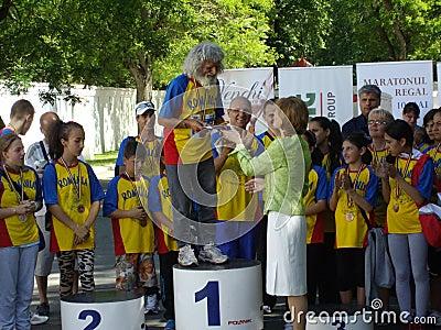 La maratoneta più anziana Fotografia Stock Editoriale