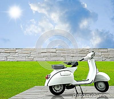 La moto blanca encendido adorna el suelo en el jardín