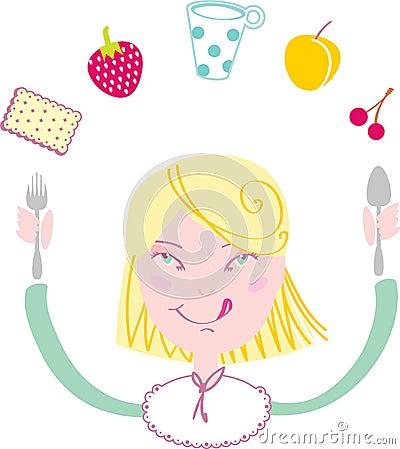 La muchacha feliz come su almuerzo