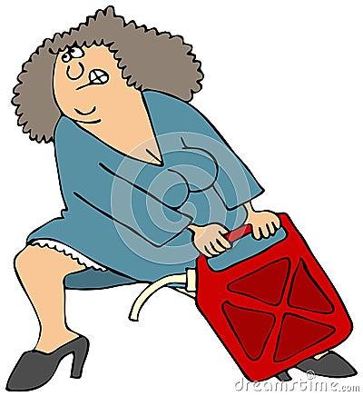 La mujer que tira de un gas pesado puede