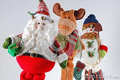 La Navidad santa, reno, muñeco de nieve