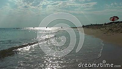La ola corre sobre la arena almacen de video