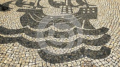 La opini?n sobre el piso t?pico de Lisboa, adorna t?pico de esta ciudad metrajes