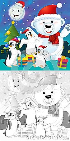 La page de Noël de coloration avec la prévision colorée