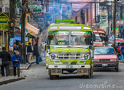 LA PAZ, BOLIVIA - January, 10: Street of La Paz on January, 10, Editorial Image
