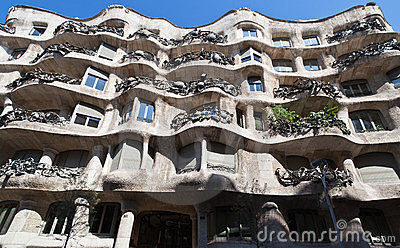 La Pedrera Modern Building in Barcelona Editorial Image